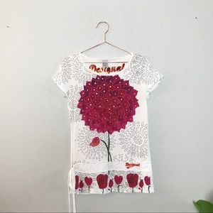 DESIGUAL M White & Red Floral Top Tee!